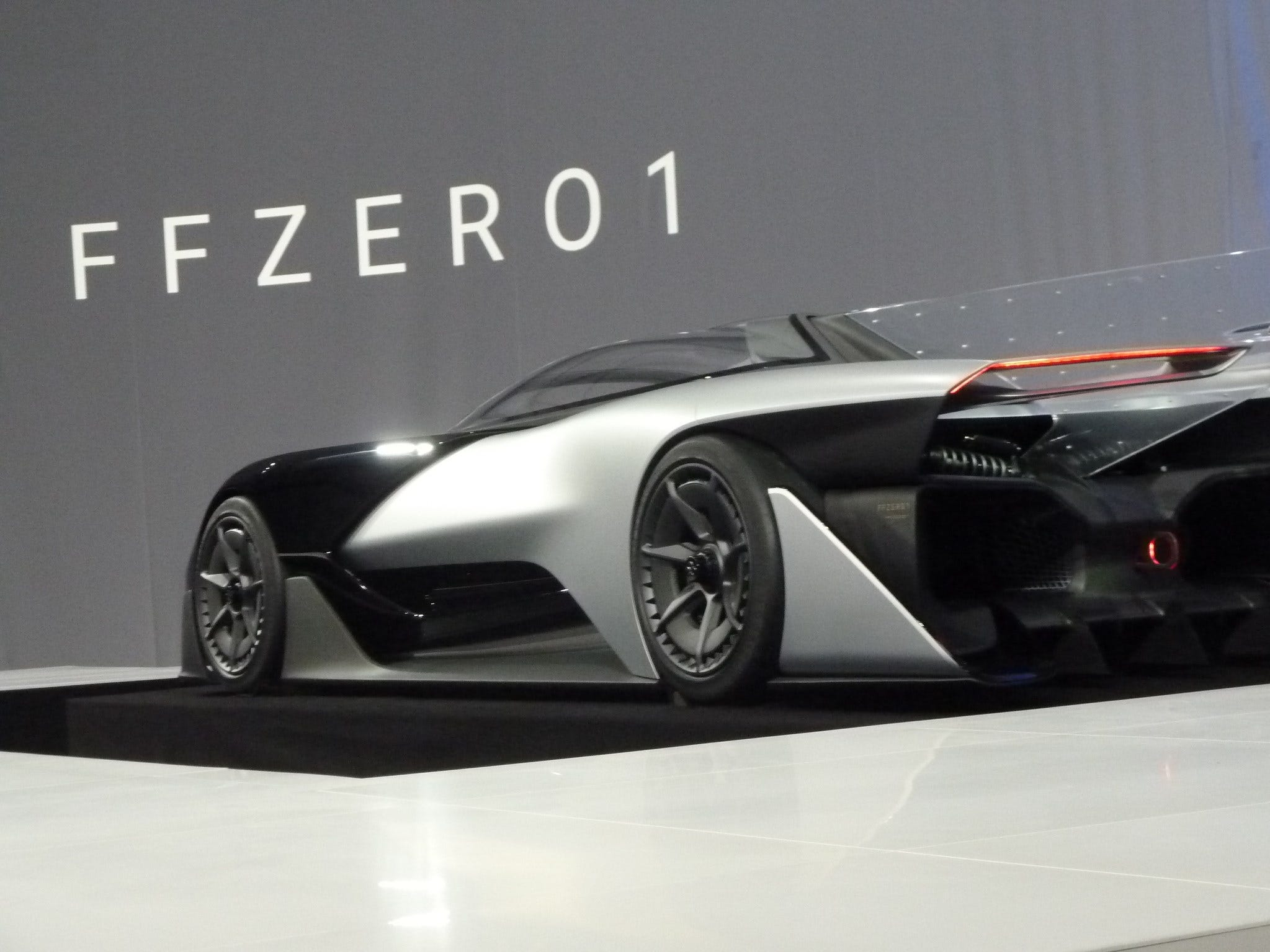 The new concept electric car FFZERO is unveiled by California startup Faraday Future during the Consumer Electronics Show on Jan. 4, 2016, in Las Vegas.
