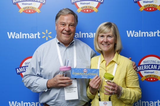 iLids founder Traci Tenneson with her husband Bill at Walmart's U.S. Manufacturing Open Call in June 2018.