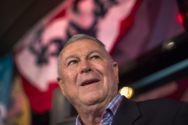 Longtime Rep. Dana Rohrabacher (R-Costa Mesa) talks to reporters on Election Night in Costa Mesa, California. Rohrabacher and Democratic challenger Harley Rouda are running to represent the 48th Congressional district.