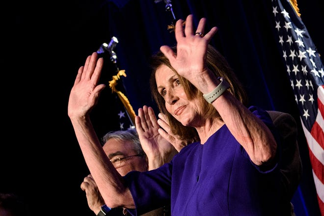 House Democratic leader Nancy Pelosi, D-Calif., celebrates a Democratic Party takeover of the House of Representatives during a midterm election night party hosted by the Democratic Congressional Campaign Committee on November 6, 2018, in Washington, D.C.