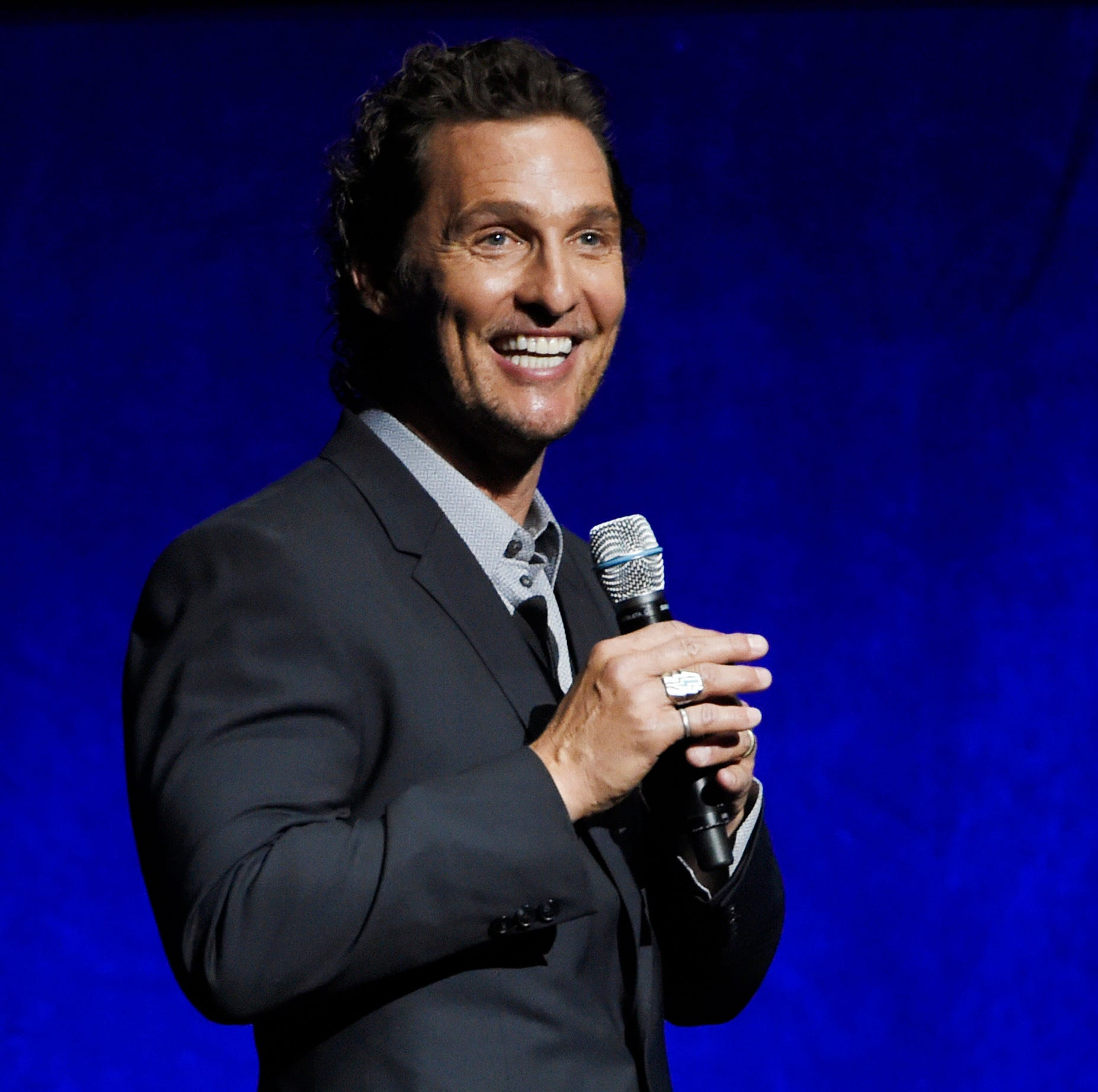 "FILE - In this April 23, 2018 file photo, Matthew McConaughey, a cast member in the upcoming film ""White Boy Rick,"" speaks during the Sony Pictures Entertainment presentation at CinemaCon 2018 in Las Vegas. Firefighters, police officers and 911 operators in Houston got a surprise from a famous local as McConaughey delivered a catered lunch as way to give thanks on National First Responders Day. (Photo by Chris Pizzello/Invision/AP, File) ORG XMIT: NYET105"