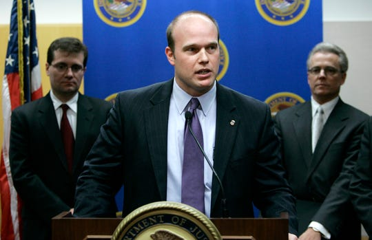 U.S. Attorney Matthew Whitaker speaks during a news conference on Jan. 16, 2007, in Des Moines, Iowa.