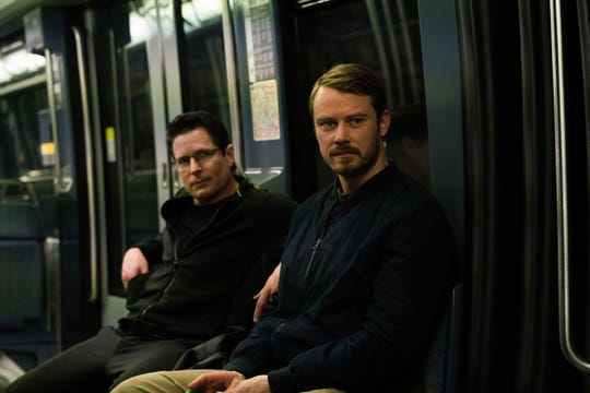John Tavner (Michael Dorman), right, is joined by colleagues, including over-enthusiastic amateur spy Dennis (Chris Conrad), in Season 2 of Amazon's 'Patriot.'