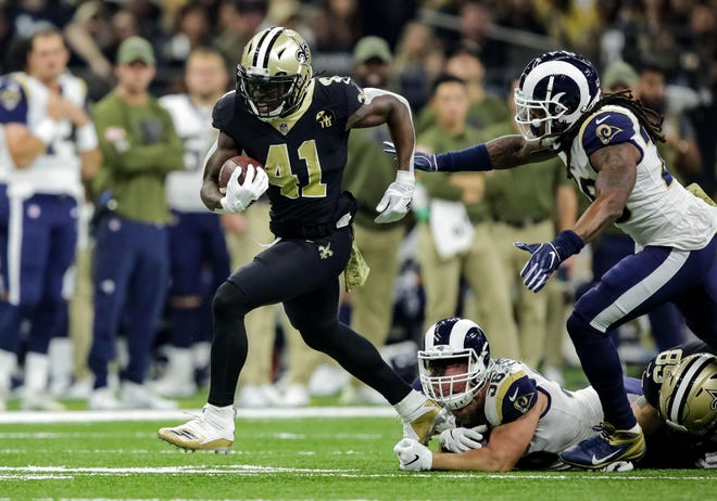 Saints running back Alvin Kamara had a season-high three touchdowns (two rushing, one receiving) in a Week 9 victory over the Rams.