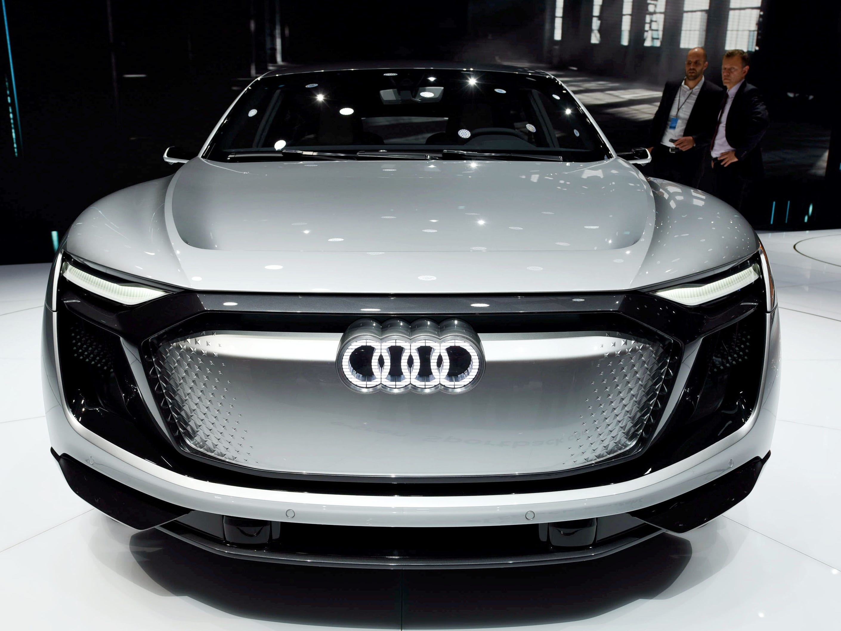 An Audi e-tron Sportback concept car is on display during the 17th Shanghai International Automobile Industry Exhibition in Shanghai on April 20, 2017.