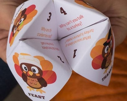 Why not keep the kids busy with a Thanksgiving joke teller?