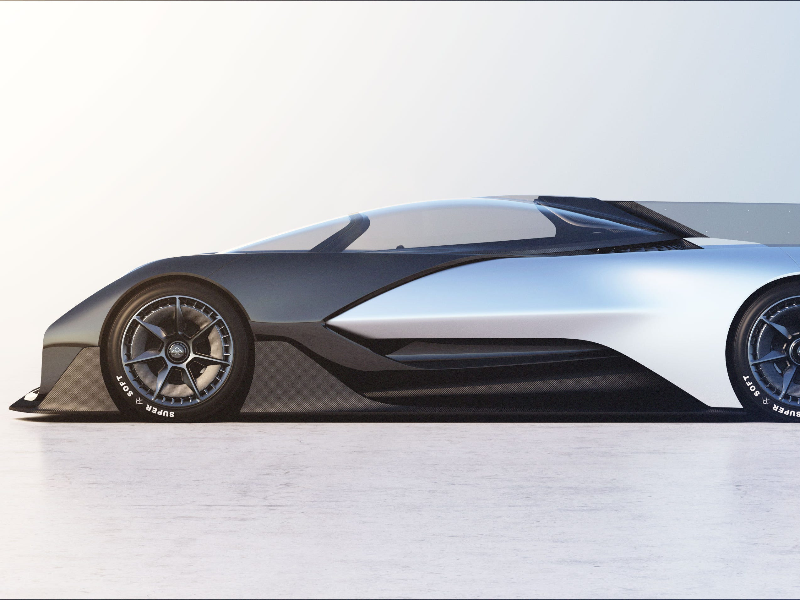 The Faraday Future electric concept car.