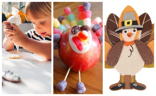 Find easy ways to entertain little one at the kids' Thanksgiving table.