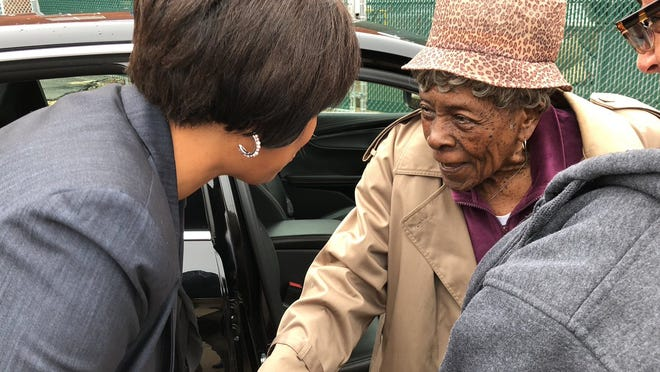 Margaret Norwood, 104, was born before the 19th Amendment was ratified and gave her the right to vote. She was greeted by D.C. mayor Muriel Bowser at her voting location Tuesday.