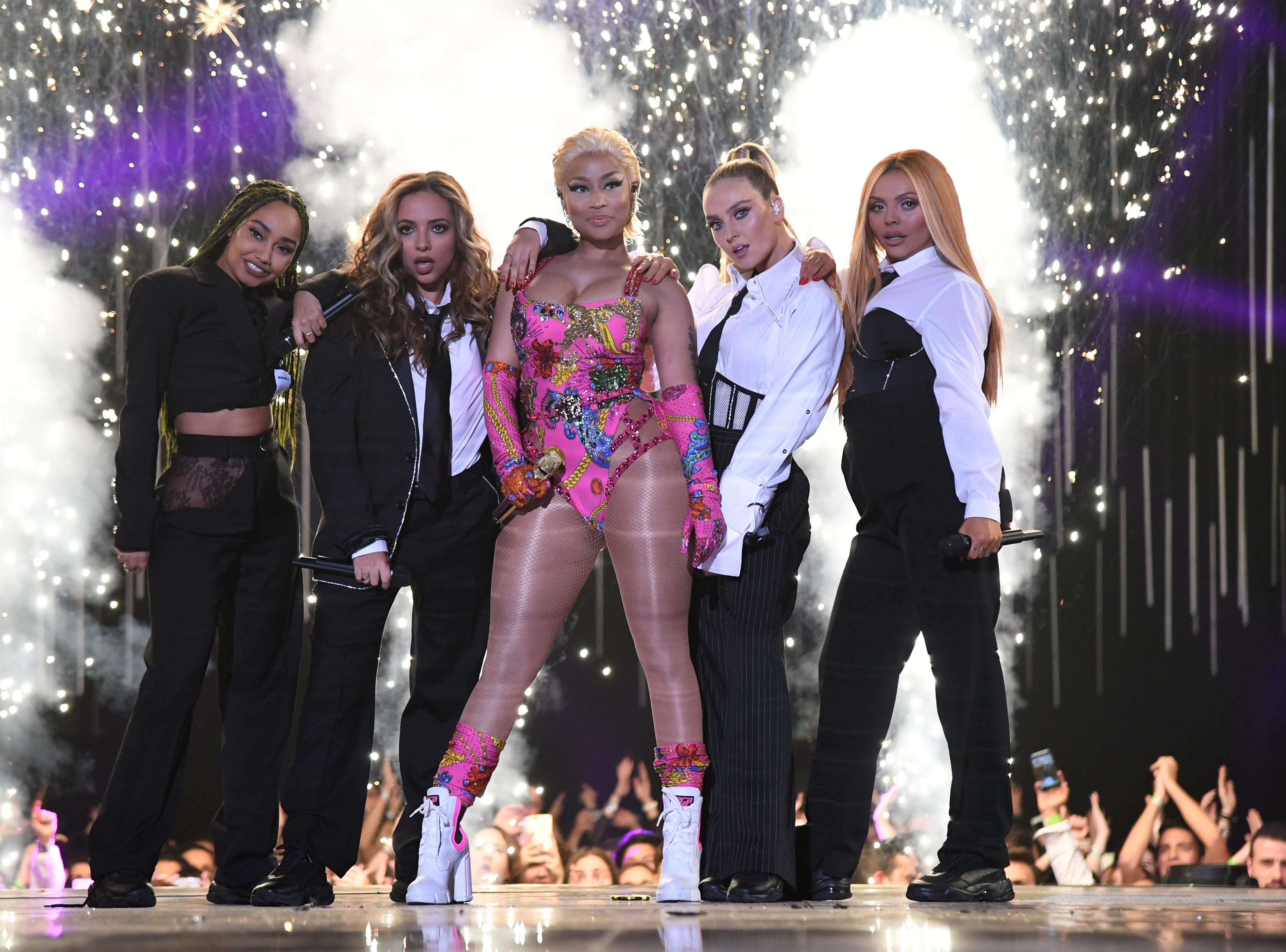 BILBAO, SPAIN - NOVEMBER 04:  Nicki Minaj and Little Mix perform on stage during the MTV EMAs 2018 at Bilbao Exhibition Centre on November 4, 2018 in Bilbao, Spain.  (Photo by Kevin Mazur/WireImage) ORG XMIT: 775097173 ORIG FILE ID: 1057315326