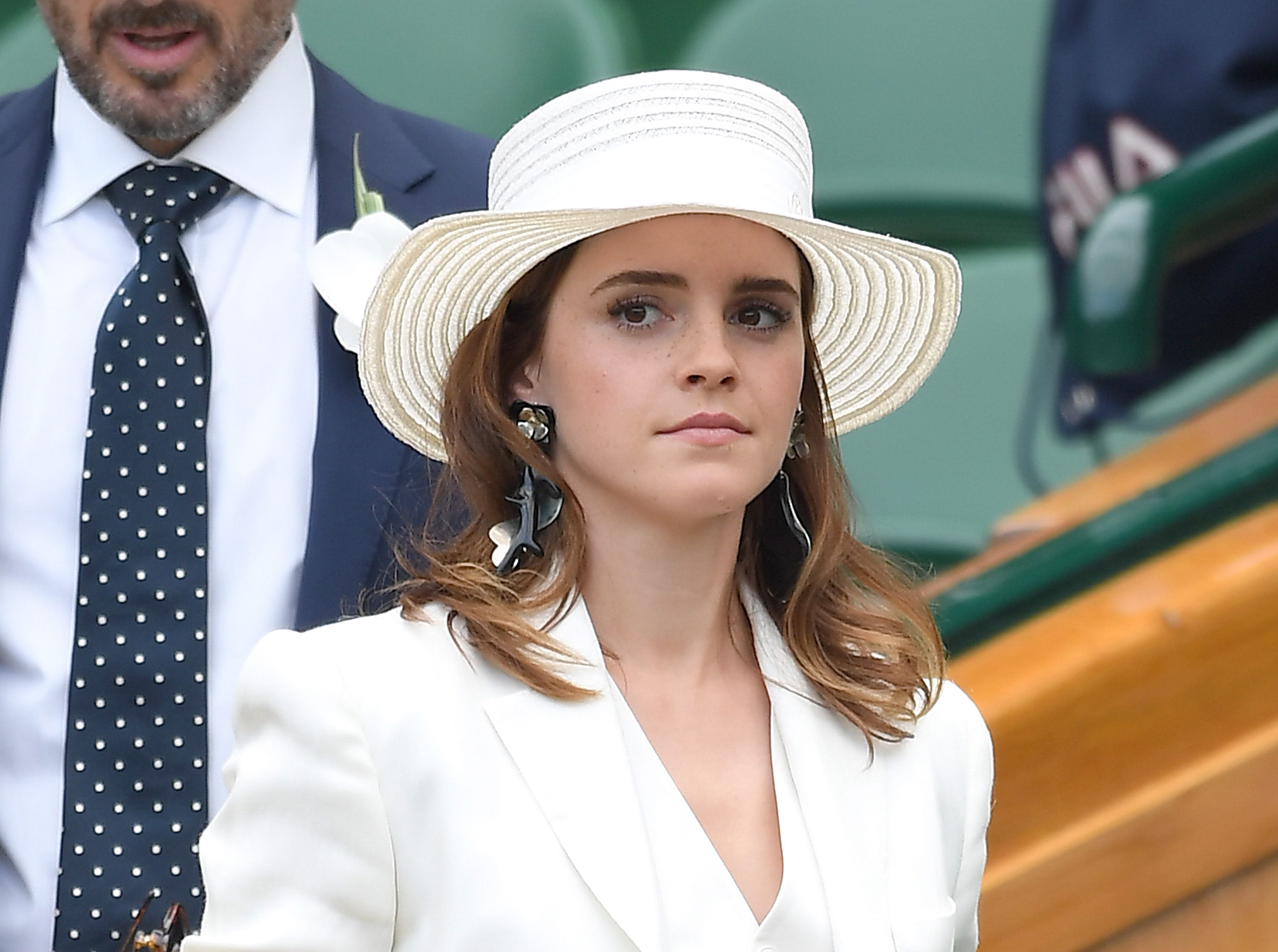 LONDON, ENGLAND - JULY 14:  Emma Watson attends day twelve of the Wimbledon Tennis Championships at the All England Lawn Tennis and Croquet Club on July 14, 2018 in London, England.  (Photo by Karwai Tang/WireImage ) ORG XMIT: 775185493 ORIG FILE ID: 998520868