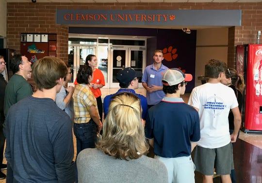 Clemson senior Brady Finigan takes prospective students on a campus tour on Nov. 8, 2018.
