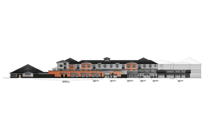 This rendering shows the design for a 120-unit facility in Pendleton that will provide seniors with independent and assisted-living services, as well as a memory care wing. The facility will be part of the $46 million Orange Grove development.