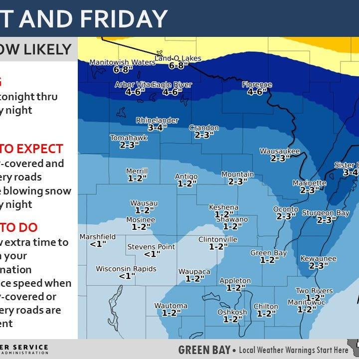 Wisconsin weather: Measurable snowfall to affect Friday morning commute