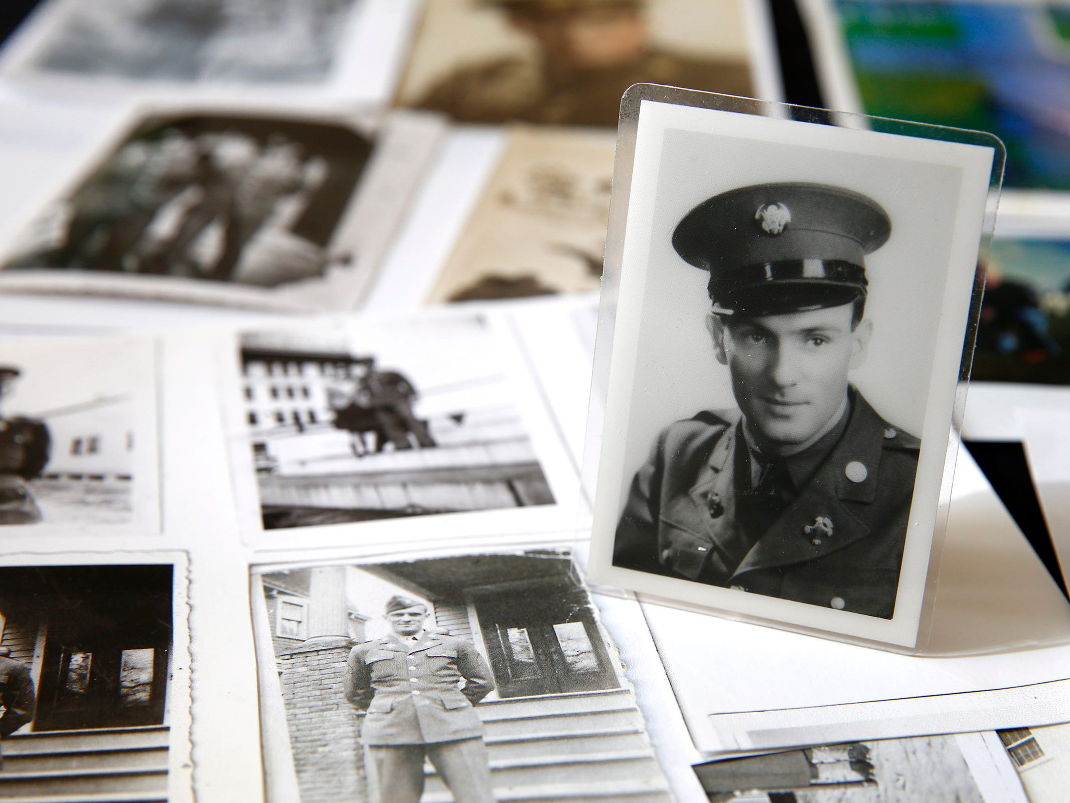 A photo of Carol Donahue's father, Stephen J. Coleman, is shown amongst other memorabilia in her Colts Neck home Thursday, November 8, 2018.  He was killed in the D-Day invasion.
