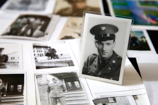 A photo of Carol Donahue's father Stephen J. Coleman is shown amongst other memorabilia in her Colts Neck home