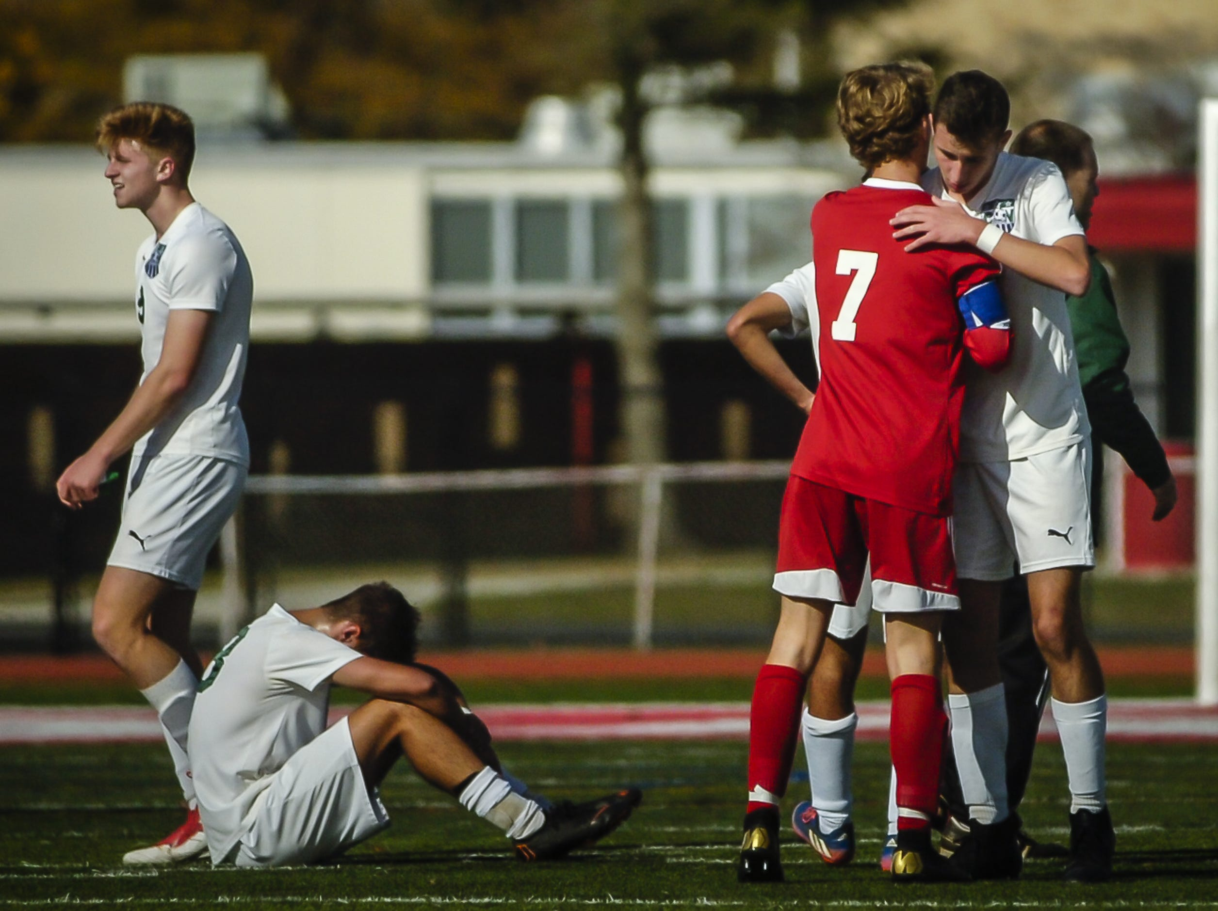 Zach Sintic, (#7) of Ocean Twp., shakes hands with a Colts Neck player following a 2-1 victory over Colts Neck in the NJSIAA Central Jersey, Group III final on Nov. 8, 2018 in Ocean.