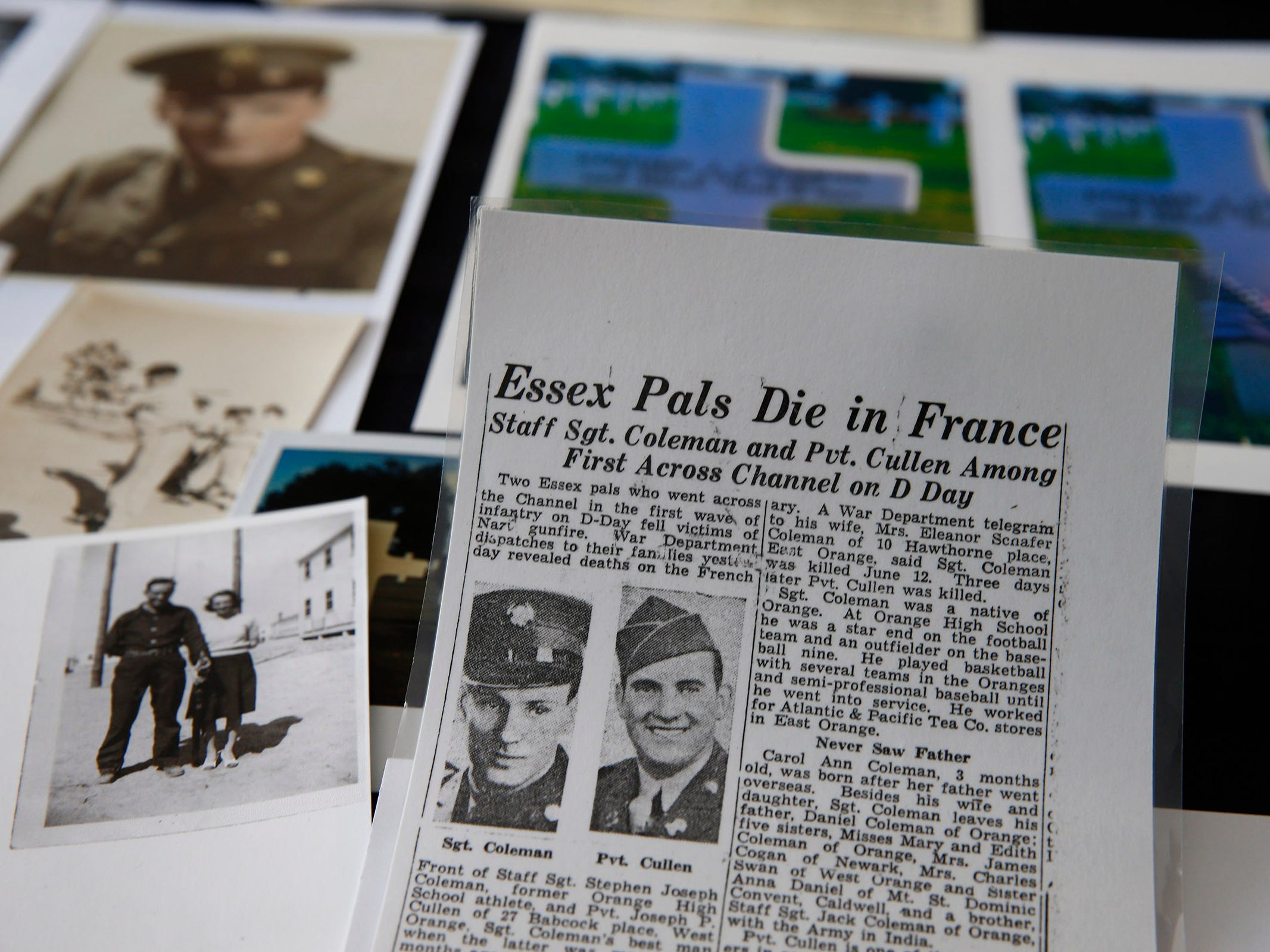 A newspaper clipping about the death of Carol Donahue's father, Stephen J. Coleman, is shown amongst other memorabilia in her Colts Neck home Thursday, November 8, 2018.  He was killed in the D-Day invasion.