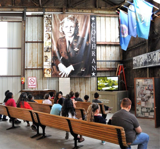 Students on a field trip watch a presentation at the WASP Museum in Sweetwater in 2015
