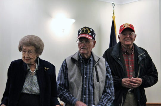 From left: Ellen Webb, Clovis Thompson and Bill Goyne were recognized Thursday afternoon at the West Texas Rehabilitation Center as the oldest Marines in attendance at the Corps' birthday party.