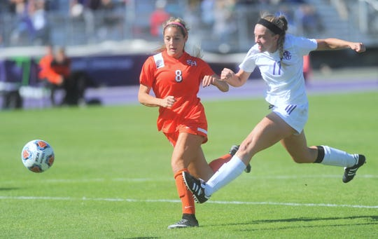 ACU's Dylan Owens (11) scores her team's second goal as Sam Houston's Megan Bennett (8) looks on during Owen's freshman season in 2015. Owens' goal broke a 1-1 tie with 18:19 left in the second half. The two teams played to a 2-2 overtime tie at Elmer Gray Stadium.