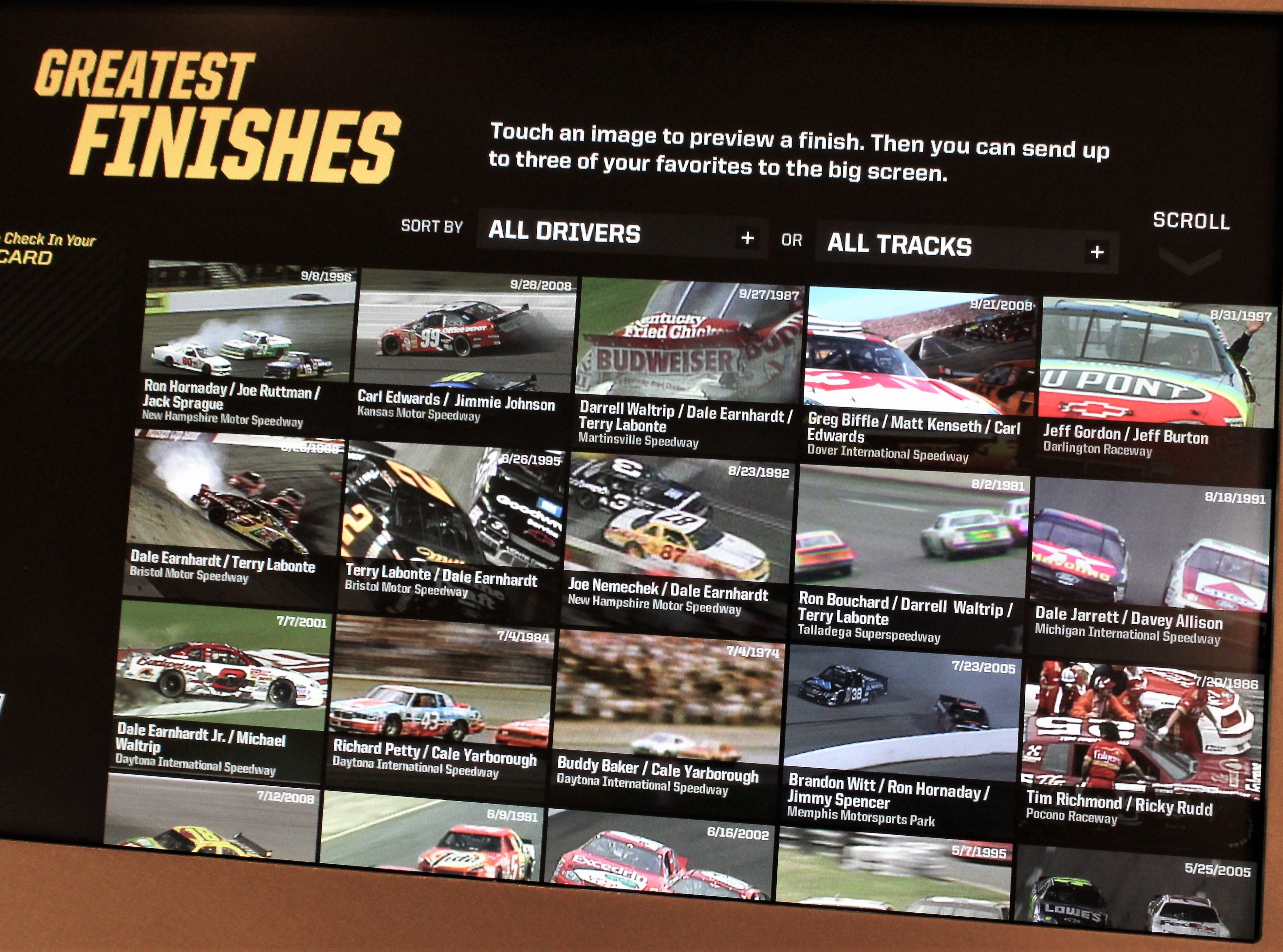 Technology is a big part of NASCAR today, and visitors to its Hall of Fame in Charlotte, N.C., can tap a screen to watch the greatest race finishes in the sport.