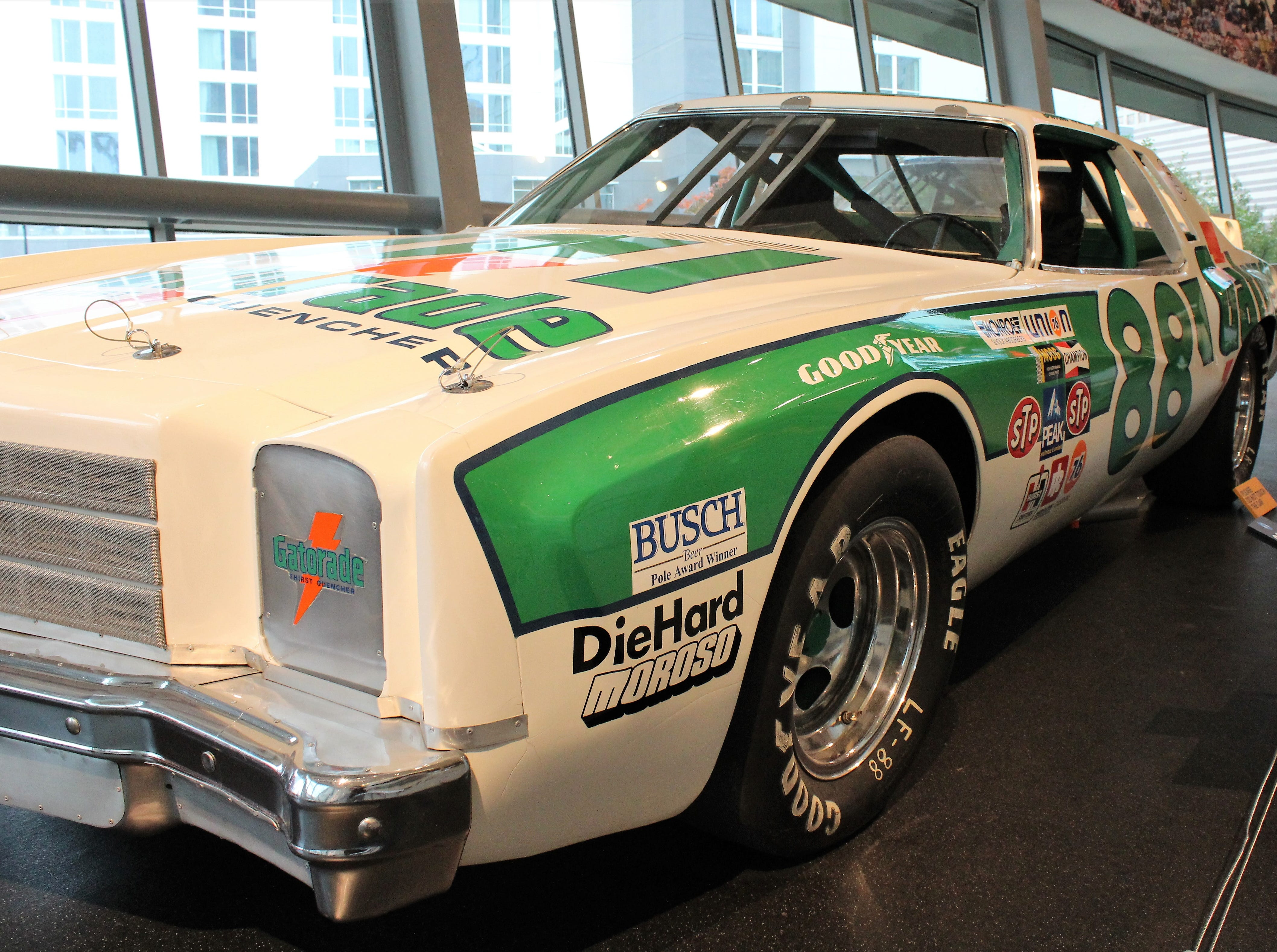 Bertha was driven to glory by Darrell Waltrip. It's displayed on Glory Road at the NASCAR Hall of Fame in Charlotte, N.C.