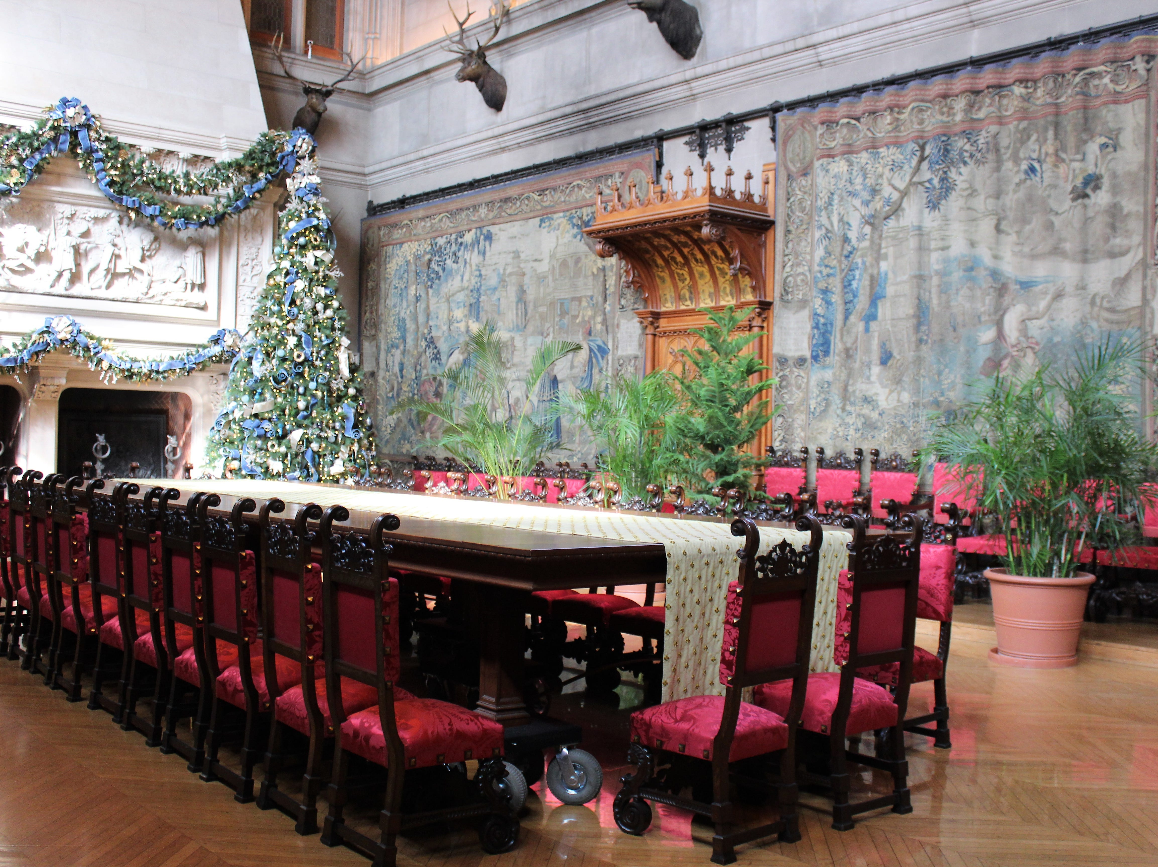 Straight out of Hogwarts, this huge dining room at Biltmore House already was decorated for Christmas and where the annual Christmas tree is placed.