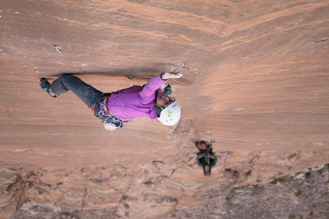 """In the Reel Rock 13 Film Festival's """"The Valley Of The Moon,"""" American climber Madaleine Sorkin climbs The Crux Fourth Pitch Of Sultan Ul Mujahidin in Jordan as Eli Nissan belays below."""