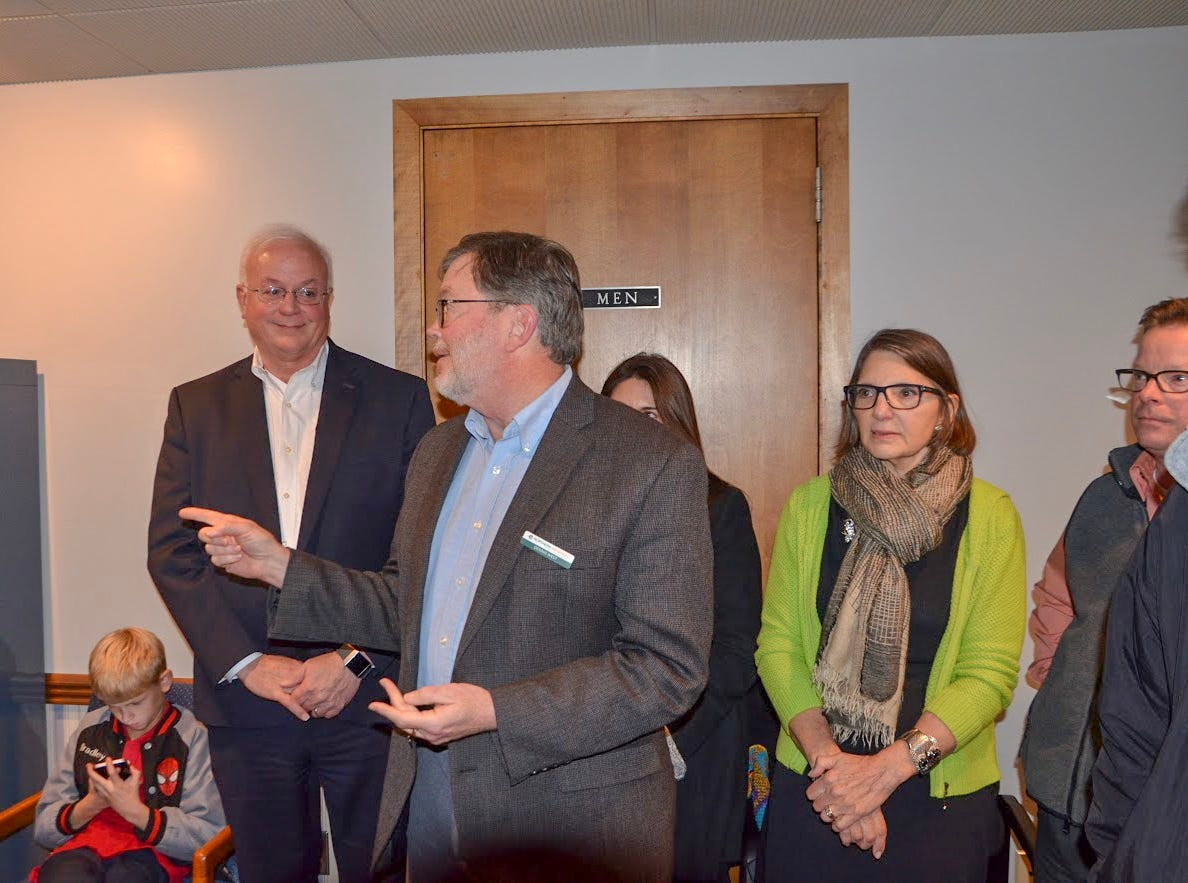 Dennis West, president of Northern Initiatives, gave a short speech to the attendees at the ribbon-cutting for the new downtown Battle Creek offices of Northern Initiatives on Wednesday, Nov. 7, 2018.