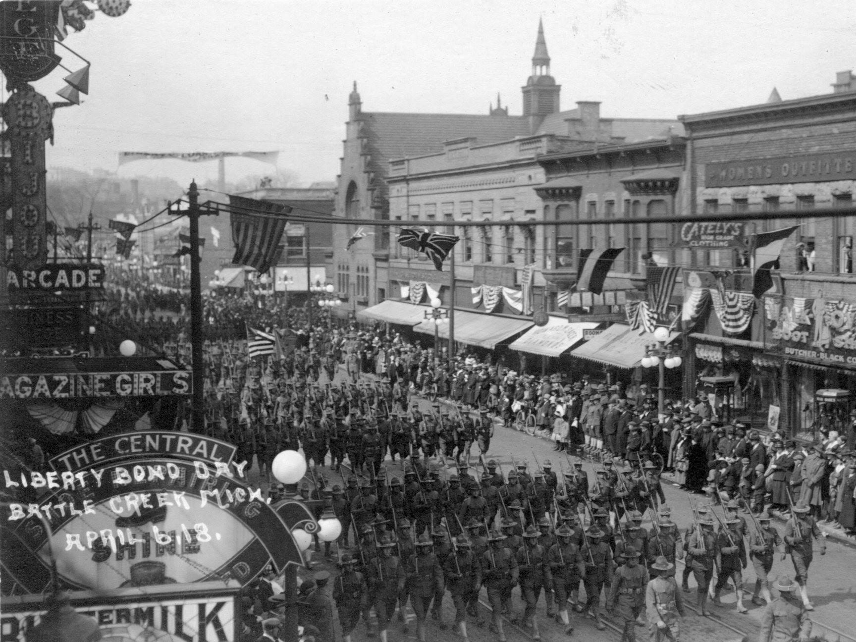 The Liberty Bond Day Parade down Michigan Avenue on April 6, 1918.