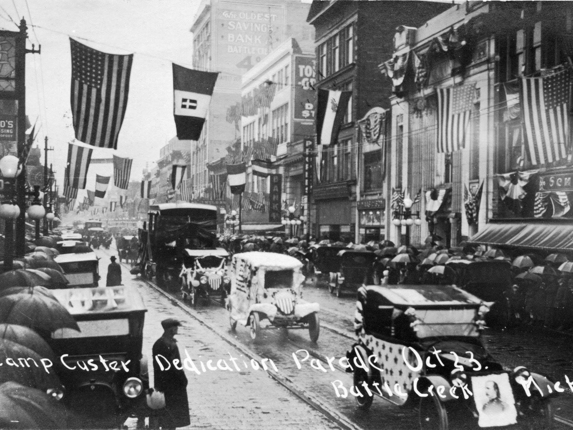 The Camp Custer Day parade down Michigan Avenue on October 23, 1917.