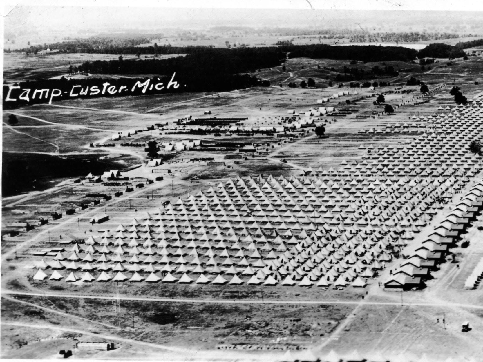"An aerial view of a ""tent city"" at Camp Custer."
