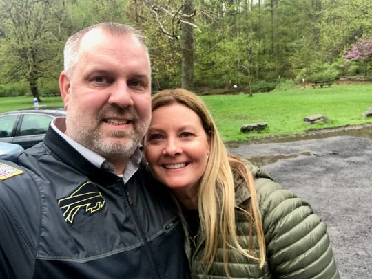 Scott Jackowski with his sister, Lori Hoban on the day they met at Buttermilk Falls in Ithaca in 2017.