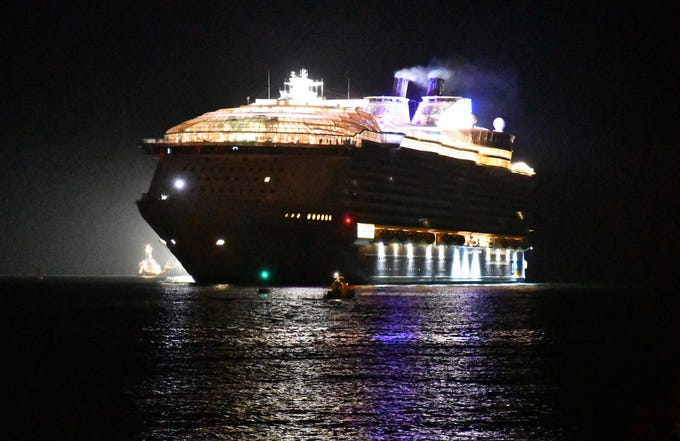 The world's largest cruise ship, Royal Caribbean's Symphony of the Seas came into Port Canaveral Thursday morning and docked at Cruise Terminal 1 at 4 a.m. The Symphony of the Seas will be homeported at Port Miami, but was making Port Canaveral its first U.S. call for processing before heading to Miami. The Symphony will depart Port Canaveral at 5:30 p.m. Thursday,  escorted with a water salute.