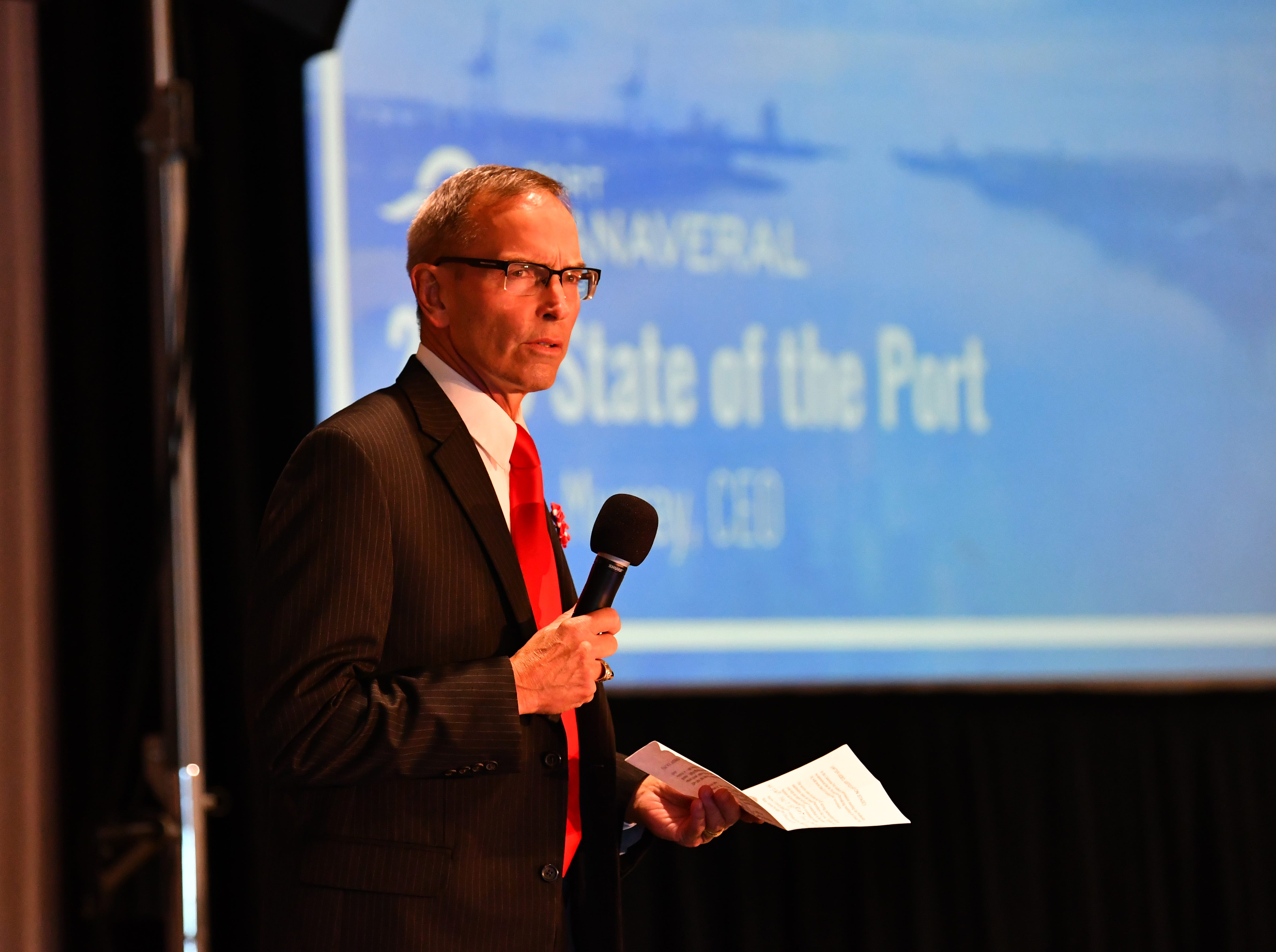 Port Commission Chairman Wayne Justice gave the opening remarks. John Murray, CEO of Port Canaveral, gave a very positive State of the Port Wednesday afternoon in Cruise Terminal 1, celebrating the 65th anniversary of the port and looking to the future.
