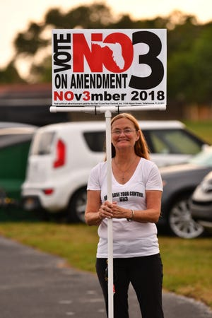 Debra Goodwin was outside a polling place at the River of Life Church of God on Merritt island on Election Day. She was seeking voter opposition to Amendment 3, which gives voters the exclusive right to decide whether a new casino can open in the state.