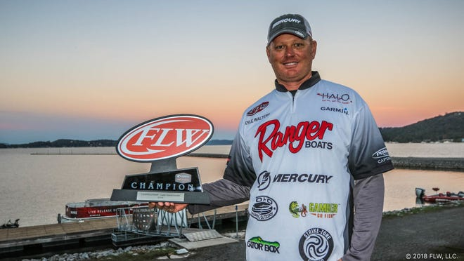 Kyle Walters of Grant-Valkaria came away the $92,700 winner in the 2018 Costa FLW Series Championship on Nov. 2-3 at Lake Guntersville, Alabama. Walters beat out 195 other pro anglers for the top prize with his two-day 10-bass limit totaling 44 pounds, 3 ounces. Walters uses a fishing technique called flipping, or punching, with weighted plastics that punch through heavy concentrations of hydrilla, milfoil and floating vegetation.