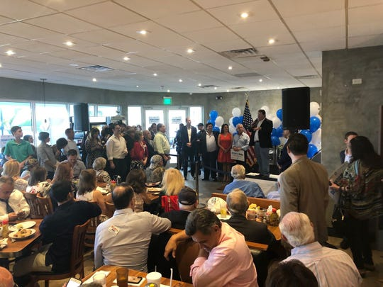 Rep. Randy Fine, R-Palm Bay, rallied Jewish supporters for Florida Gov.-elect Ron DeSantis at Mo's Bagels & Deli in Aventura in October.