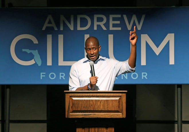Tallahassee Mayor Andrew Gillum speaks at a campaign stop in his bid for governor, Monday, Nov. 5, 2018, in Crawfordville, Fla.