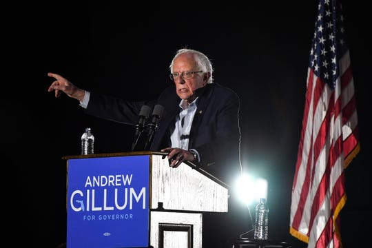 Sen. Bernie Sanders (I-VT) addresses the Get Out the Vote Rally in support of Democratic gubernatorial candidate Andrew Gillum at the University of Central Florida, CFE Arena on October 31, 2018 in Orlando, Florida. Bernie Sanders was attending the rally to boost support for Florida Democrats on the same day as U.S. President Donald Trump is attending a rally in South Florida with Republican gubernatorial candidate Ron DeSantis.