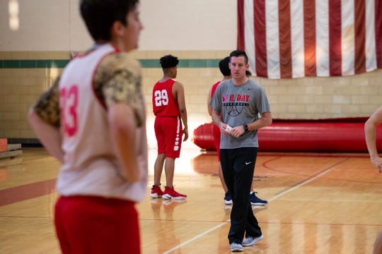 Ray High School's basketball coach Brandon Bourg during practice in the schools gym on Wednesday, Nov. 7, 2018.