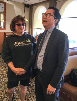 Nancy Mellin, of Burlington Township, approached Andy Kim at Golden Dawn Diner in Edgewater Park Thursday to tell him he had her vote Tuesday.