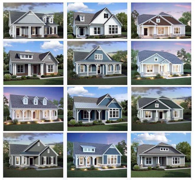 Some of the home designs that will be found in The Retreat at Carriage Hill. Buyers will have four floor plans to select from with a variety of elevations.