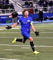Doug Simpson is jubilant as his last-moment goal lifts Summit Country Day to the Boys Division II State State Soccer Championship, Nov. 7, 2018.