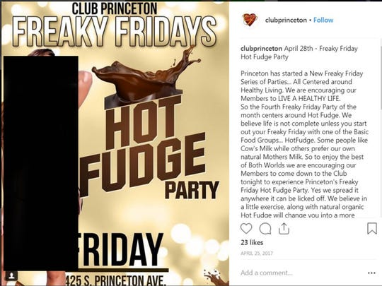 A lawsuit states an image of a professional model was used without permission in an advertisement for Club Princeton in Columbus, Ohio. This image was entered as evidence in the case. The Enquirer blocked a portion of it.