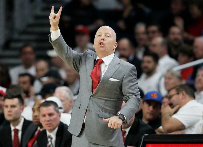 Cincinnati Bearcats head coach Mick Cronin shouts to his defense in the first half of the NCAA basketball game between the Cincinnati Bearcats and the Ohio State Buckeyes at Fifth Third Arena in Cincinnati on Wednesday, Nov. 7, 2018. The Buckeyes led 27-18 at halftime.