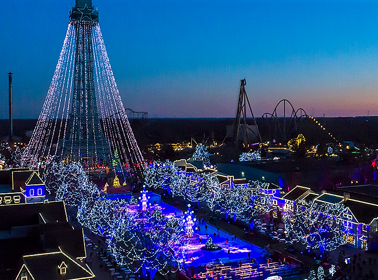 More than 5 million lights adorn the 364-acre amusement park.