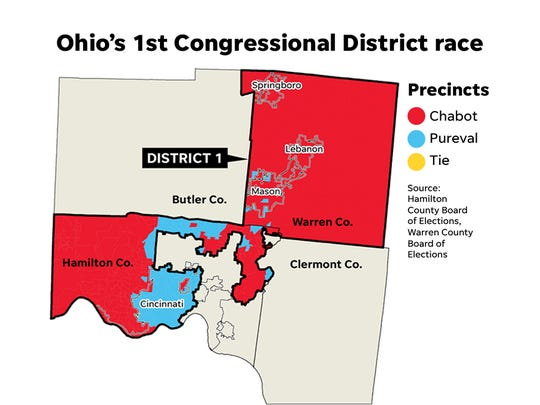 Here's how the Greater Cincinnati area voted in the Chabot-Pureval race