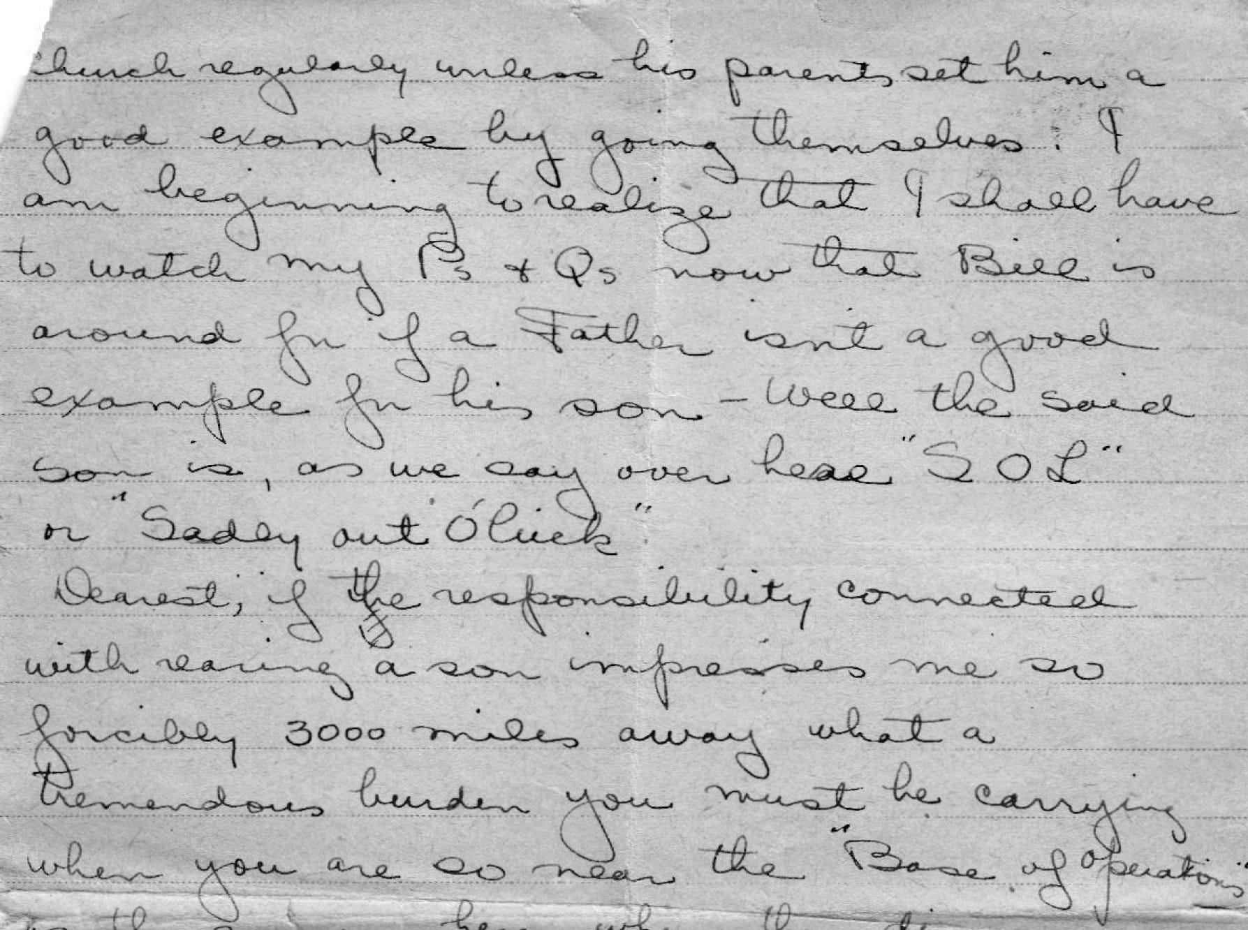Page 2 of a letter to his wife on Nov. 17, 1918, in which Lolo writes about how much he misses his wife, how much he loves her and how he can't wait to meet his newborn son.